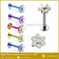Venda quente Body Piercing Surgical Aço Prong Set Flor Opala Lip Ring Labret Studs